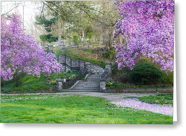 The Steps At Lemon Hill - Philadelphia Greeting Card by Bill Cannon