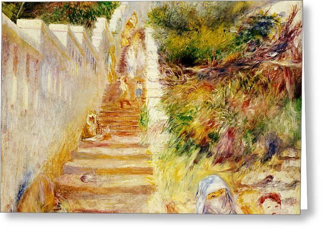The Steps in Algiers Greeting Card by Pierre Auguste Renoir
