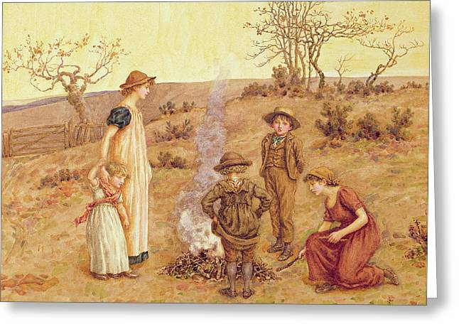 The Stick Fire Greeting Card by Kate Greenaway