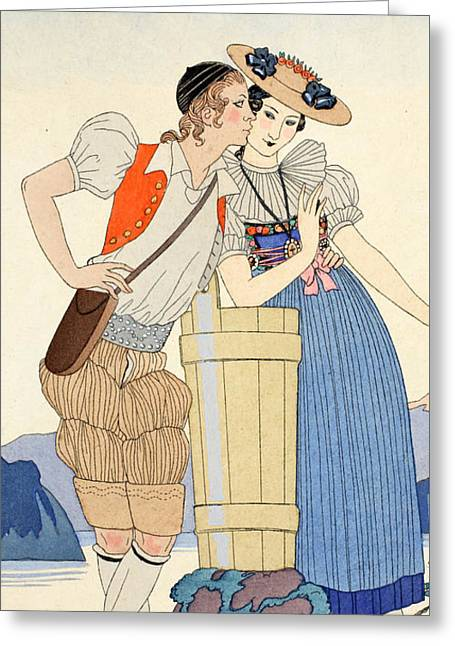Beaux-arts Greeting Cards - The Stolen Kiss Greeting Card by Georges Barbier