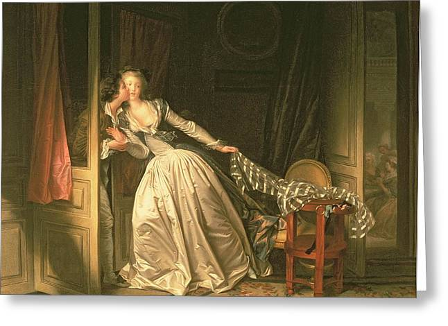 Darling Greeting Cards - The Stolen Kiss Greeting Card by Jean-Honore Fragonard