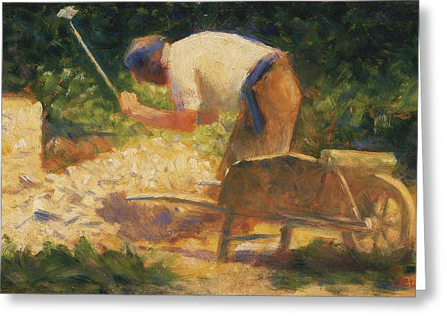 Seurat Greeting Cards - The Stone Breaker Greeting Card by Georges-Pierre Seurat
