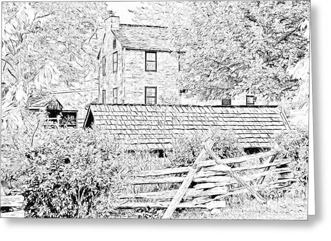 The Stone House At The Oliver Miller Homestead Greeting Card by Digital Photographic Arts