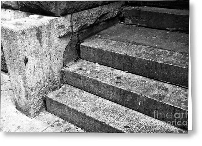 The City That Never Sleeps Greeting Cards - The Stoop mono Greeting Card by John Rizzuto