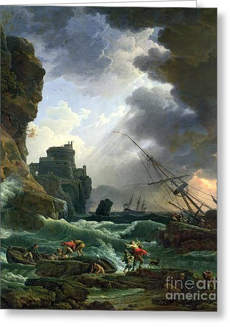 Rough Paintings Greeting Cards - The Storm Greeting Card by Claude Joseph Vernet