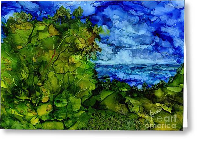Blue Green Water Tapestries - Textiles Greeting Cards - The Storm Greeting Card by Eunice Warfel