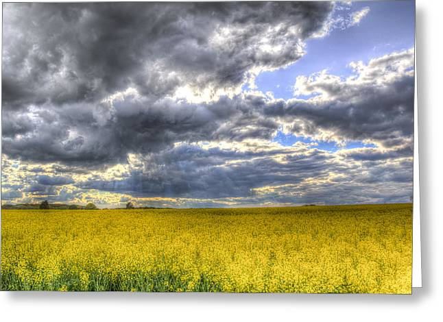 Farmers Field Greeting Cards - The Storms Approach  Greeting Card by David Pyatt