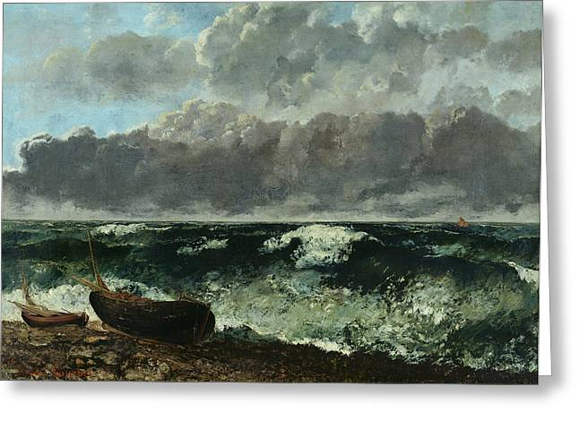 Vague Greeting Cards - The Stormy Sea Greeting Card by Gustave Courbet