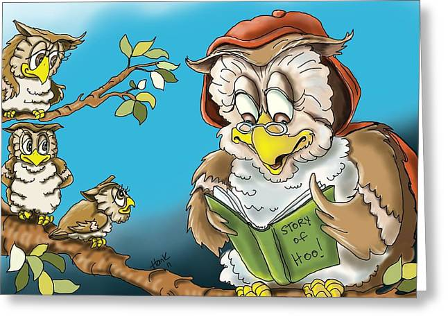 Childrens Books Digital Greeting Cards - The Story of Hoo Greeting Card by Hank Nunes