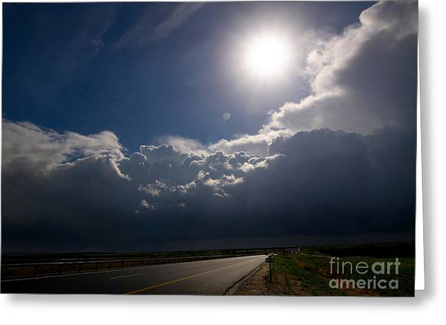 The Straight Way To The Storm Greeting Card by Arik Baltinester