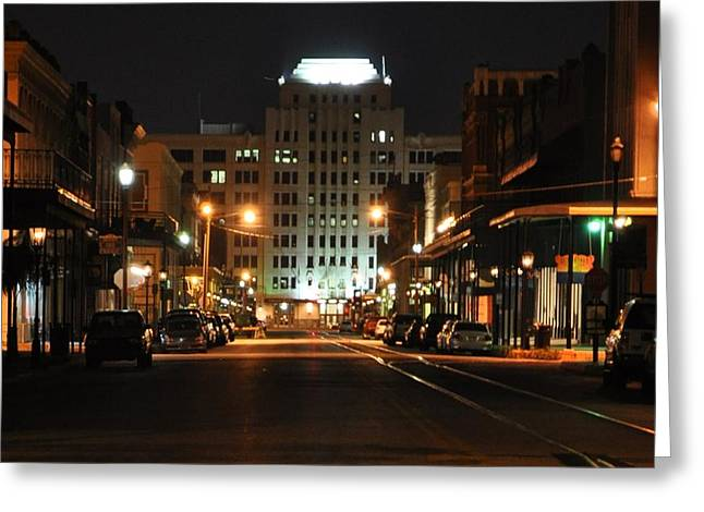 Galveston Greeting Cards - The Strand at Night Greeting Card by John Collins