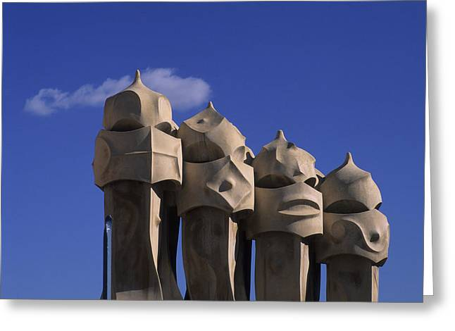 Eu Greeting Cards - The Strangely Shaped Rooftop Chimneys Greeting Card by Taylor S. Kennedy