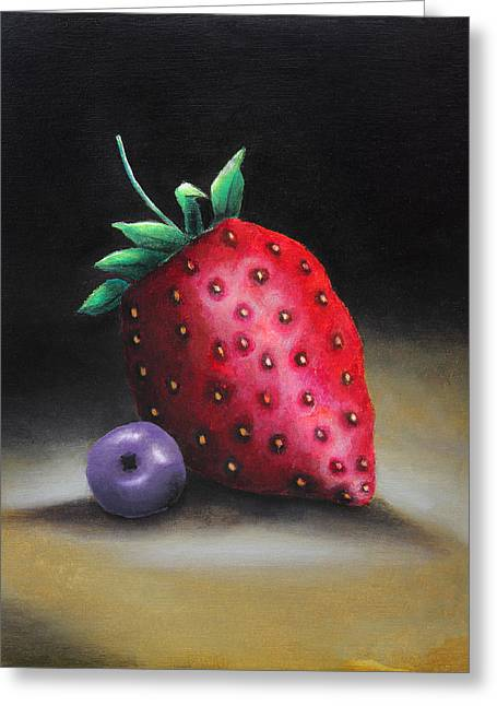 Strawberry Art Greeting Cards - The strawberry and the blueberry Greeting Card by Nirdesha Munasinghe