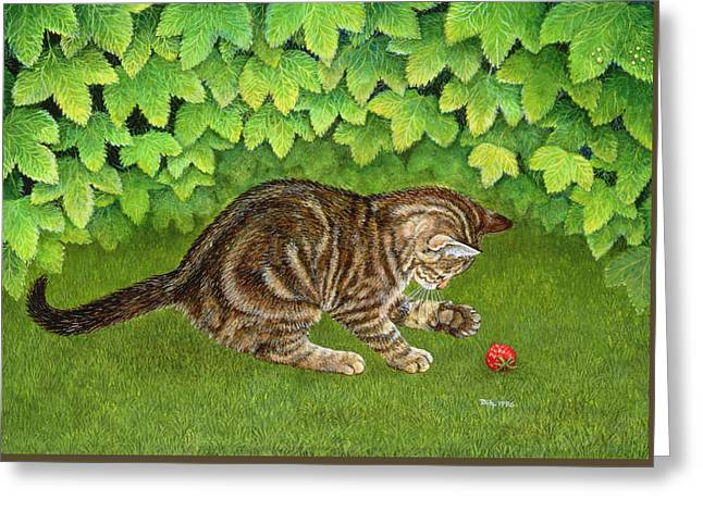 Cute Kitten Greeting Cards - The Strawberry Kitten Greeting Card by Ditz