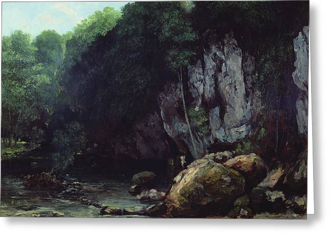 Cavern Greeting Cards - The Stream from the Black Cavern Greeting Card by Gustave Courbet