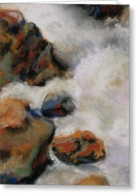 Rapids Pastels Greeting Cards - The Stream Runs Through It Greeting Card by Frances Marino