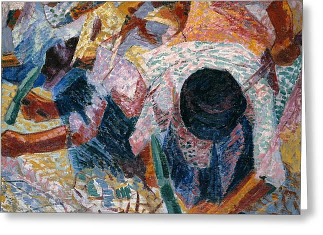 Umberto Boccioni Greeting Cards - The Street Pavers Greeting Card by Umberto Boccioni