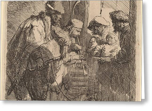 The Strolling Musicians Greeting Card by Rembrandt Van Rijn