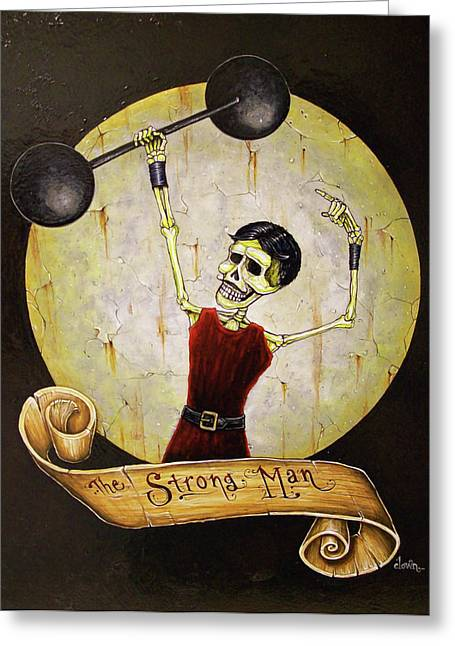 Tattoo Flash Paintings Greeting Cards - The Strong Man Greeting Card by Matthew Powell