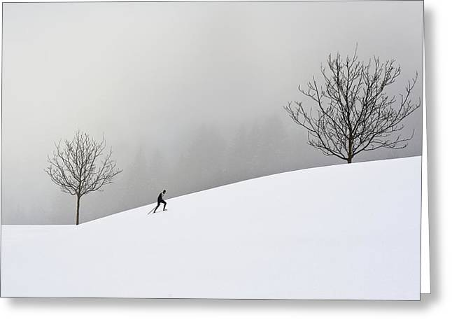 Winter Landscapes Photographs Greeting Cards - The Struggle Of The Cross-country Skier Greeting Card by Marei