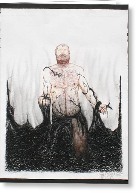 Hairy Drawings Greeting Cards - The Struggle Greeting Card by Raymond Bucklew