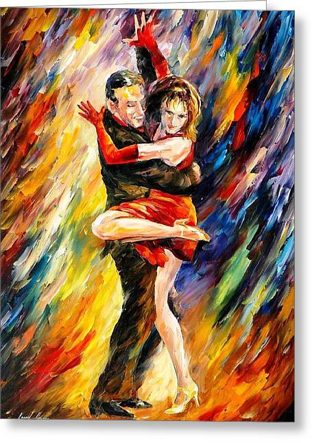 Popular Art Greeting Cards - The Sublime Tango - PALETTE KNIFE Oil Painting On Canvas By Leonid Afremov Greeting Card by Leonid Afremov