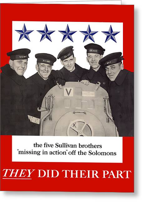 Ww1 Greeting Cards - The Sullivan Brothers Greeting Card by War Is Hell Store