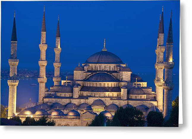 The Sultanahmet Or Blue Mosque At Dusk Greeting Card by Axiom Photographic