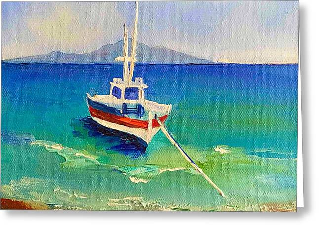 Boats In Water Greeting Cards - The Summer Day Off Greeting Card by Viktoriya Sirris