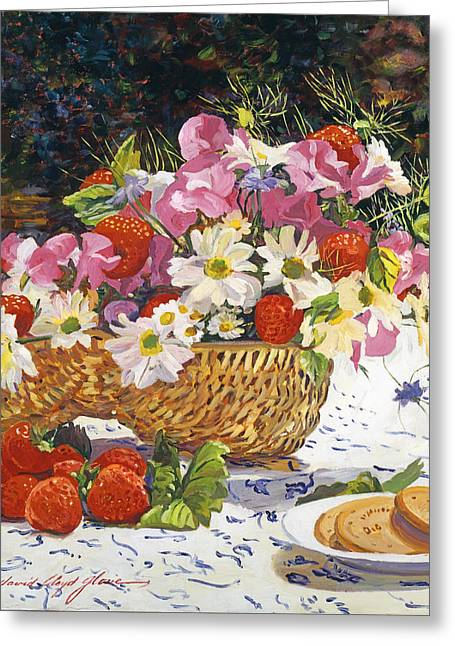 Fruit And Flowers Greeting Cards - The Summer Picnic Greeting Card by David Lloyd Glover