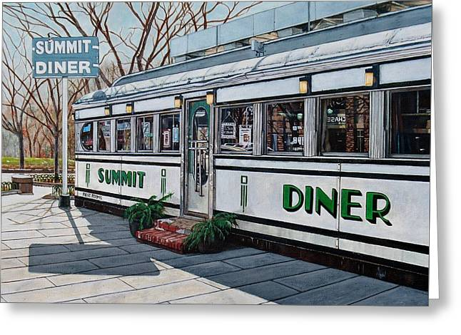 Photorealism Greeting Cards - The Summit Diner Greeting Card by Daniel Carvalho