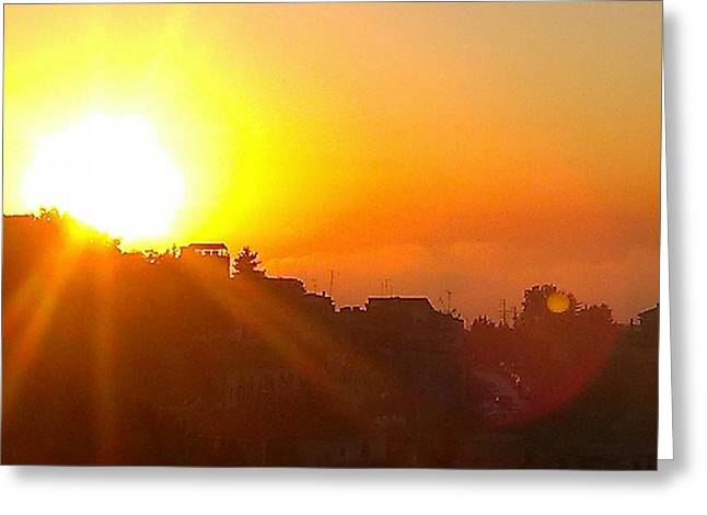 The Sun As Is Ablaze, Never Ceases To Amaze Greeting Card by Sam StarGazer