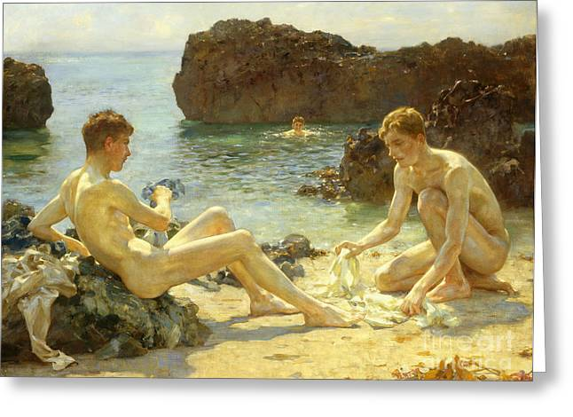Naked Greeting Cards - The Sun Bathers Greeting Card by Henry Scott Tuke