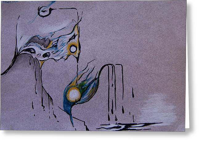 Surreal Landscape Drawings Greeting Cards - The Sun Bird Greeting Card by Nina Efk