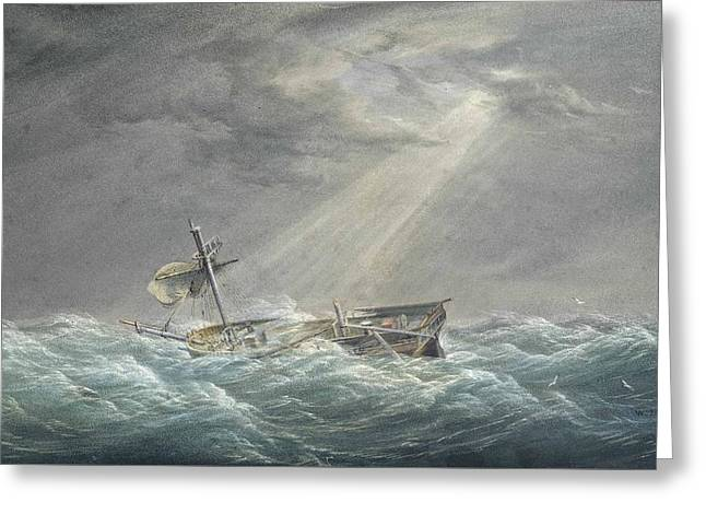 The Sun Breaking Through The Clouds After The Storm Greeting Card by William Joy