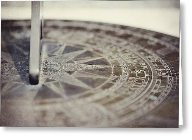 Olive Green Greeting Cards - The Sun Dial Greeting Card by Lisa Russo