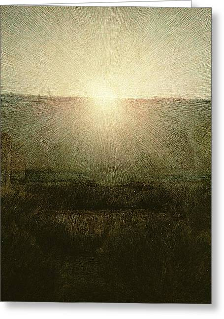 Sunrise Greeting Cards - The Sun Greeting Card by Giuseppe Pellizza da Volpedo
