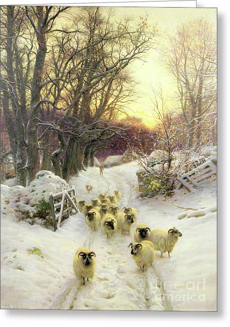 Sunset; Evening; Winter; Snow; Sheep Greeting Cards - The Sun Had Closed the Winters Day  Greeting Card by Joseph Farquharson