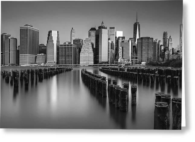 Brooklyn Bridge Park Greeting Cards - The Sun Rises At The New York City Skyline BW Greeting Card by Susan Candelario