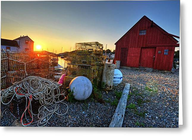 The Sun Rising By Motif 1 In Rockport Ma Bearskin Neck Lobster Traps Greeting Card by Toby McGuire