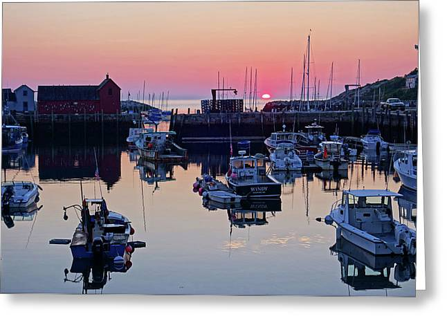 The Sun Rising On Rockport Harbor And Motif Number 1 Greeting Card by Toby McGuire