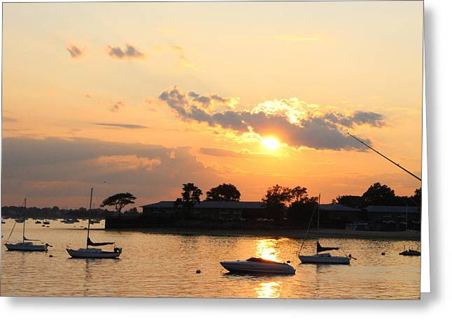 York Beach Greeting Cards - The Sunset of Late Spring Greeting Card by  Photographic Art and Design by Dora Sofia Caputo