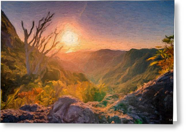 Ultra Modern Digital Greeting Cards - The Sunset Valley Greeting Card by Serge Averbukh