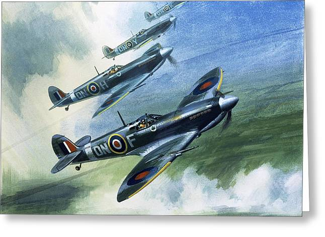 The Supermarine Spitfire Mark IX Greeting Card by Wilfred Hardy