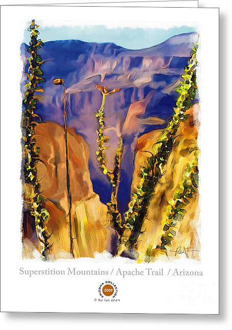 Bob Salo Greeting Cards - The Superstition Mtns. AZ Greeting Card by Bob Salo