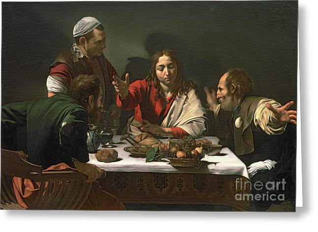 Michelangelo Caravaggio Greeting Cards - The Supper at Emmaus Greeting Card by Caravaggio