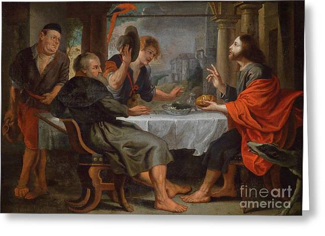 Peter Paul (1577-1640) Greeting Cards - The Supper at Emmaus Greeting Card by Celestial Images