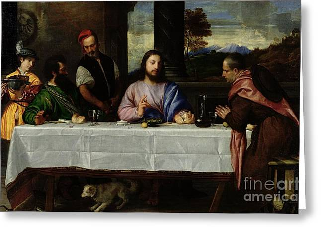 1576 Greeting Cards - The Supper at Emmaus Greeting Card by Titian