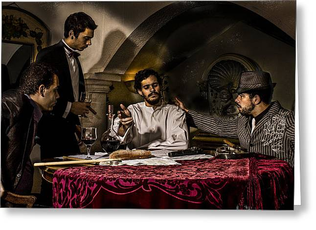 Jesus And Disciples Greeting Cards - The Supper at Emmaus tribute to Caravaggio Greeting Card by Luciano Comba