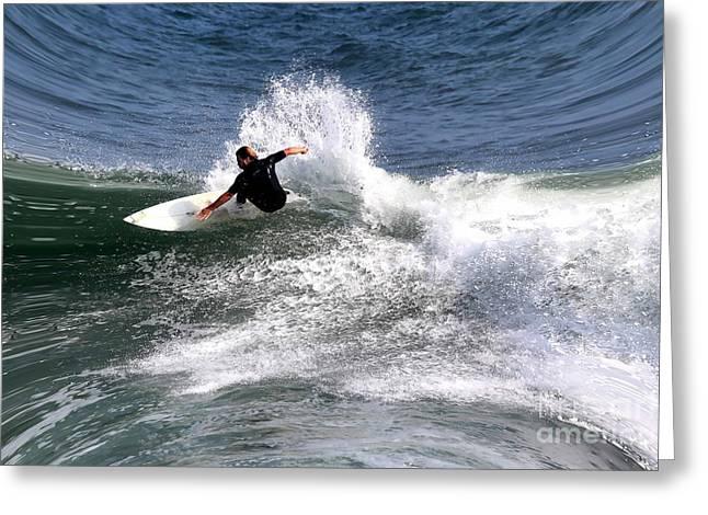 Ocean Scenes Greeting Cards - The surfer Greeting Card by Tom Prendergast